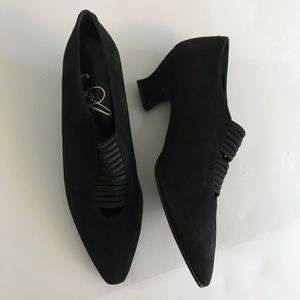 Avana black suede pump 2 inch heel strappy front